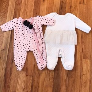 Two quilted baby girl onesies